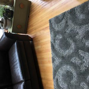 Large Silver grey shag rug for sale