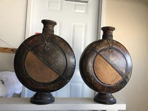 Pair of Large bronze-coloured urns