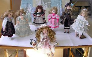 "Porcelain Dolls - Variety from 12"" up to 20"", total of 20"