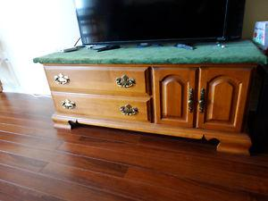 Roxton Hard wood TV table set with display cabinet.