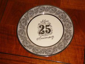 Silver Anniversary Serving Plate and Cream and Sugar
