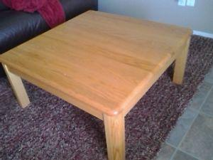 Solid oak coffee and end table.