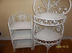 TWO WHITE WICKER STANDS
