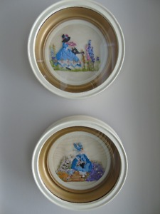 VINTAGE SHADOW BOX FRAMES, PAIR hand made, petti-point