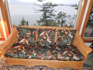 Wicker Couch, armchair and ottoman