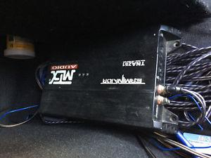 """2 10"""" MTX subs in box and amp"""