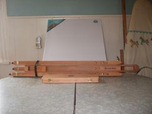 """35"""" Artist's Easel with box of brushes and mounted canvas"""