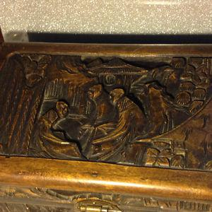 Antique CHINESE Hand Carved Wood Chest Box Peple and