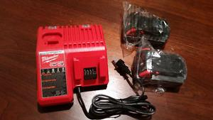 Milwaukee Dual Charger and Two (2) 2.0 Batteries