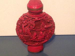 Old Red Cinnabar Snuff Bottle