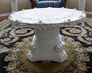Pedestal coffee table, mirror & handmade crochet top