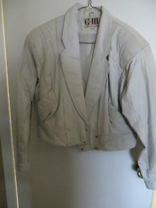 Short White Leather Jacket - (reduced)