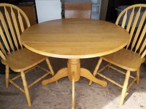 Solid wood drop leaf kitchen table with two chairs