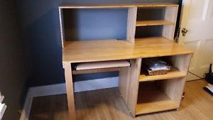 Solid wooden desk with built in shelves
