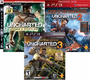 Uncharted 1, 2, and 3 PS3 GAMES