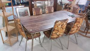 Vintage Chrome Table with leaf and 6 Chairs for Sale