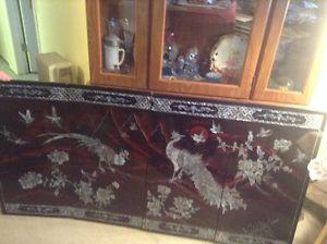 Vintage Mother of Pearl Inlay Asian Wall Art Deco Home