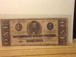 $1 LARGE DOLLAR CSA  OLD Confederate Currency Civil War