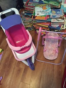Doll swing and stroller
