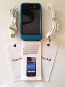 IPhone 4S 16 GB Black with Teal Otterbox Defender