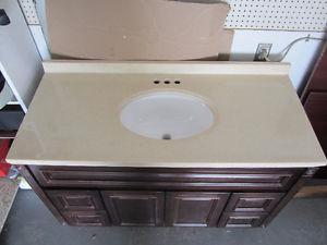 """NEW 48"""" bathroom cultured granite vanity sink top"""