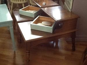 Stained solid wood side tables set of two