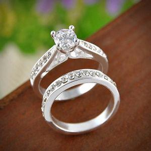 2pcs Women Wedding Engagement Rings Silver Plated Zirconia