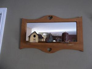 Country style solid wood mirror with attached shelf
