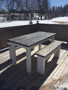 Hand Made Rustic Harvest Table with 2 Benches