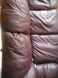 Reddish Brown LEATHER COUCH--PICK UP only