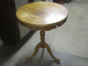 s HEAVILY CARVED DRUM LAMP TABLE $ NEEDS TLC !!