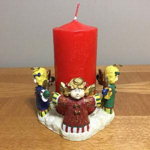 """COLORFULL """"CIRCLE OF 4-ANGELS"""" CANDLE HOLDER WITH CANDLE"""