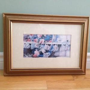 Framed Tea Pot and Tea Cups Pictures