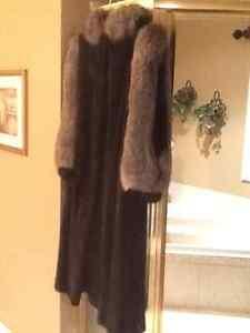Full length black mink indigo fox fur coat