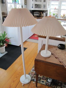 Matching floor lamp and desk lamp