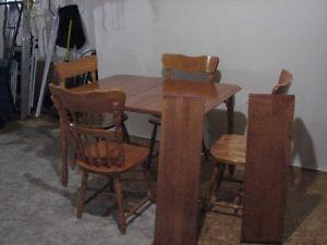 Oak Dining Table Set with 4 Chairs