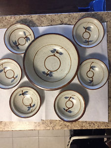 Pottery- Large Salad Bowl with 6 Serving Bowls