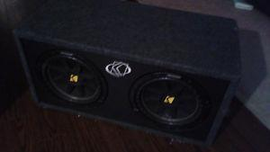 Two 10 inch Kicker Subwoofers in box with Alpine Amp
