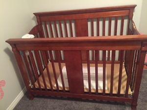 cheery oak Baby crib and change table with change pad