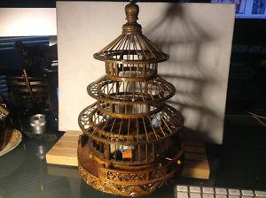 ANTIQUE CHINESE BAMBOO HEAVY CARVING BIRD CAGE