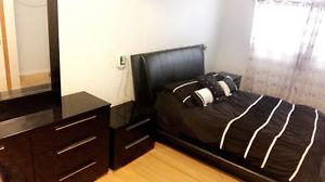 Dresser with mirror and 2 night stands, bed frame 400obo