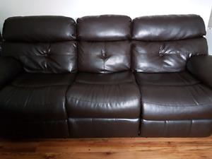 Leather sofa -reclining