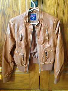 Medium Brown Faux Leather Jacket (Small)