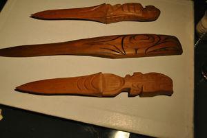 Northwest Coast Native Indian Carved Wood Three Knives
