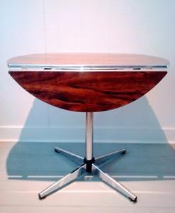 RETRO Dining Table CHROME Drop Leaf Wood Antique Vintage