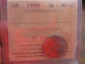 Rare P ICCS Certified MS63 5 Cent Mint Issue Test Token