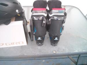 Ski boots and helmet and goggles