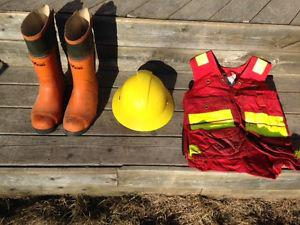 Tree Planters!!! Cork Boots, Survey Vest and Hard Hat for