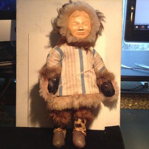 Vintage Native American Indian Eskimo Carved Wood Doll