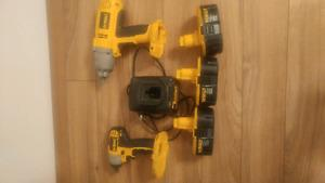dewalt 18volt 1/2 impact wrench set with 3 batteries and